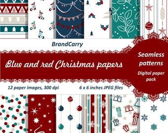 Christmas digital paper pack Digital Paper Christmas Snowflake Patterns Digital Paper Christmas Digital Background Holiday Scrapbook
