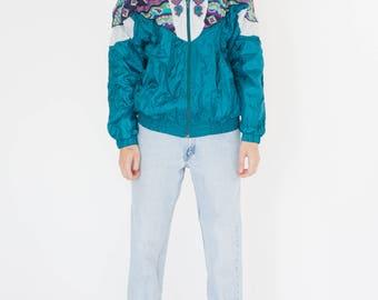 Vintage 90s Turquoise Paisley Bomber Jacket
