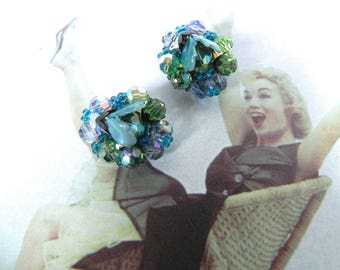 Vintage Earrings 1940s Truly Gorgeous Green and Teal Enamel and Glass Bead Clippies , 40s 50s Crystal Earrings