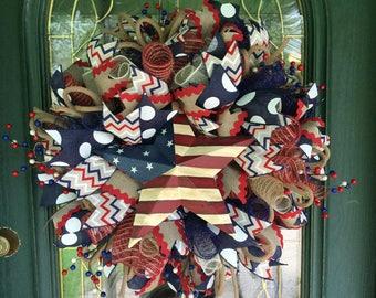 Americana Fourth of July Patriotic Wreath