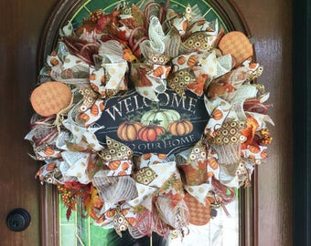 Fall Pumpkin Welcome to our Home Deco Mesh Wreath for Front Door