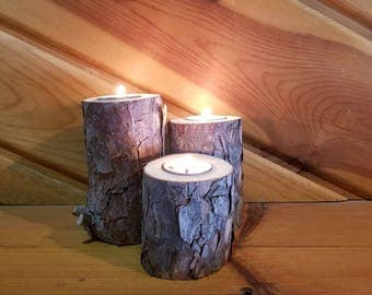 Red Pine Tea Light Holders, Candle Holder, Rustic Candle Holder, Candleholder, Wood Candle Holder, Home Decor, Holiday Decor