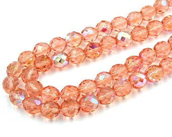 TWO Strands AB light Rose Crystal Czech 10mm Fire-polished Faceted Round Beads