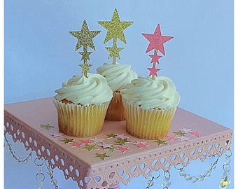 First Birthday Party Decoration - Pink and Gold First Birthday - Star Cupcake Toppers - First Birthday Cupcake Topper
