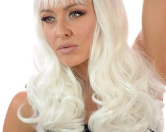Mid Length Platinum White Thick Curly Burlesque Wig | Full Straight Fringe