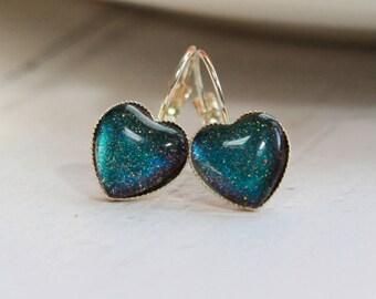 Handmade Heart Earrings - Statement Earrings - Colour Changing Earrings - Statement Jewellery
