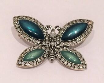 Green Enamel And Rhinestone Butterfly Brooch
