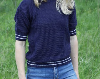Vintage Short Sleeve Sweater Top Blue Knit Shirt 70's FOX COLLECTION Polo Small