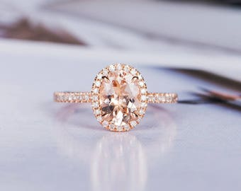 Morganite Engagement Ring Oval Cut Wedding Ring Rose Gold Diamond Bridal Half Eternity Halo Promise Anniversary Gift for Her Women