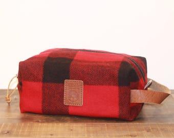 Natural Wool & Waxed Canvas Dopp Kit - Red Buffalo Check