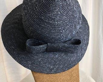 Vintage Millinery Saks Fifth Ave Blue Straw Bowler Hat