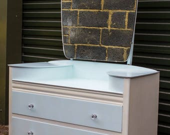 Dressing Table, chest of drawers, bedroom furniture, mirror, storage chest.