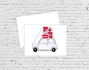 Vintage mini cooper, holiday card, christmas card, fashion illustration, greeting card, fashion card,