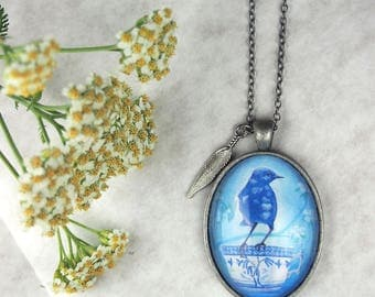 bird pendant, wren necklace, blue glass jewelry, feather necklace, bird and coffee, tea pendant, coffee accessory, bird lover gift, for her