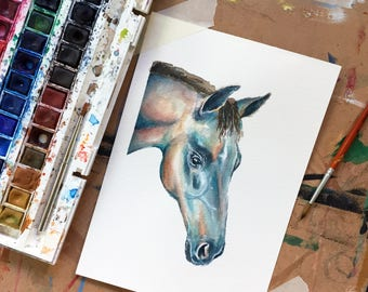 Original Horse Watercolour Painting on 185gsm A5 Watercolour Paper