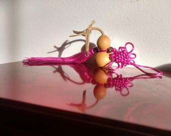 Cute gourd decor with silk tassel and wood beads