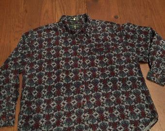Royal Robbins Women's Corduroy Batik print Button Up Sport Climbing Outdoor Woodsy Shirt
