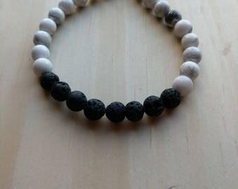 Howlite LAVA Diffusser Bracelet, gift for her, lava bracelet, howlite bracelet, Valentine gift