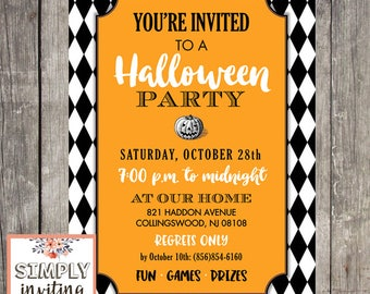 Halloween Party, Digital File, Pumpkin Invitation, DIY Printable, Typography, Trick or Treat, Orange, Black and White, Costume Party Invites