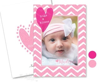 Valentine's Day Photo Card  hugs and kisses hearts - Pink sparkle glitzy glitter for her - Baby Girl Girly - Personalized Sweet Valentine