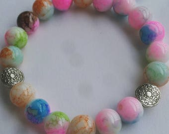 10mm Multicolored Splattered Beaded Bracelet