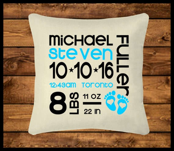 Personalized baby boy pillow burlap look pillow throw like this item negle Choice Image