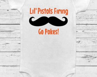 Lil' Pistols Firing- Oklahoma State University Onesie - Oklahoma State Baby - OSU Cowboys - OSU Baby - Pistol Pete Baby - Baby Announcement