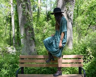 1990s Crushed Velvet Skirt Set, Forest Green Skirt and Top