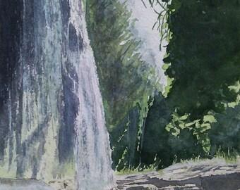 Aquarelle originale, peinture à l'aquarelle, sketch, peinture d'une cascade