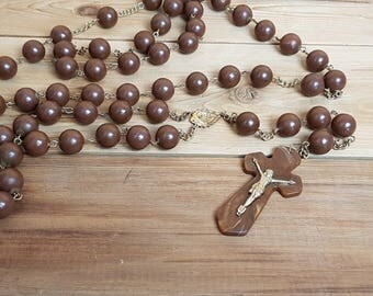 """Vintage Extra Long Wall Rosary 56"""" Giant Large Brown Plastic Beads Crucifix Cross Antique First communion Prayer Confirmation Bishop Clergy"""