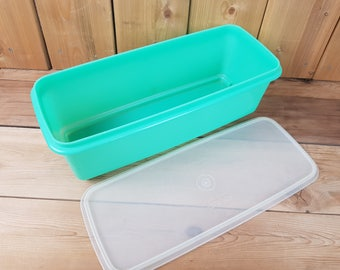 Vintage Tupperware Large Rectangular Jade Jadeite Green Plastic Keeper Container with Clear Lid Food Storage Canada Mod Retro Kitchen
