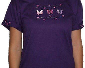 Sequin Embroidered Butterflies Butterfly Unique Custom Women's Cute Fun Glitter Cool Bling  V-neck T shirt Cindy's Handmade Shirts Boutique