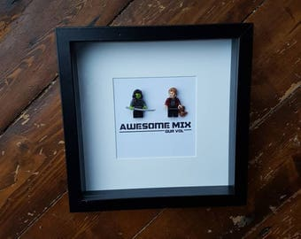 Shadow Box Frame//Gaurdians of the Galaxy//Star Lord/Gamora//Rocket/Groot//Minifigure//Lego//Gift//Anniversary//Valentines//Engagement//Geek