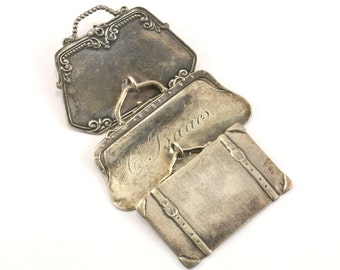 Vintage Foree Hunsicker Victorian Handbag Purse Luggage Pendant 925 Sterling PD 537-E