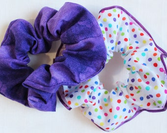 Polka Dot Ribbon Hair Scrunchies, Hair Ties, Gentle Hair Elastic, Hair Accessories and Handmade Favors or Gifts