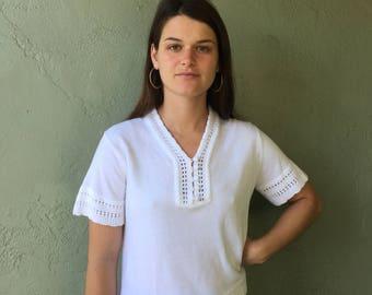Vintage Button Down Knit Blouse // White Vintage Blouse