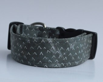 The mountains are calling again! Charcoal Mountains Dog Collar