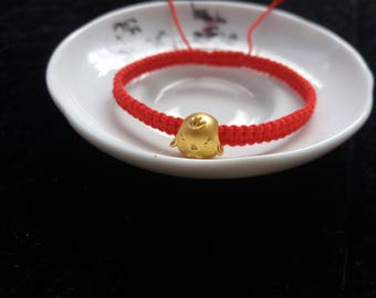 24k Pure Gold Baby Chicken Bead Lucky Chinese Red String Bracelet