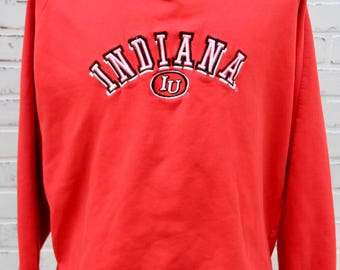 90's Vintage INDIANA UNIVERSITY Hoosiers Sweatshirt Bloomington Indiana Crimson and Cream Big 10 Size Large