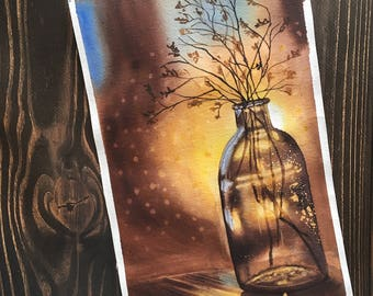 Original watercolor painting - Dried flowers in a bottle on the background of a sunset sun - still life - wall art - home wall decor