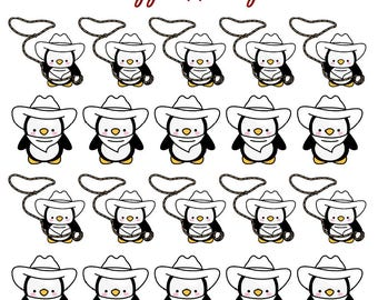 Color Your Own - Cowboy Rodeo Penguin! - All Planner Sizes - Erin Condren | Happy Planner | Recollections | Plum Paper Planner | Bujo | TN