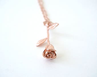 Rose Gold Necklace, Gold Rose necklace, Beauty and the Beast Necklace, Enchanted rose Necklace, Gift for girlfriend, Gift for her