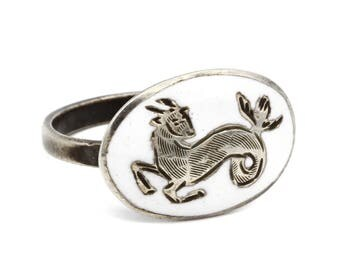 RARE Zodiac Ring, Antique 30s Jewelry, White Enamel Ring, 925 Sterling Silver, Capricorn Ram, Siam Nielloware, Adjustable Ring, Size 6.5
