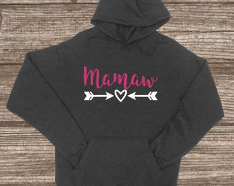 Mamaw Hooded Pullover Sweatshirt - Custom Jackets - Mamaw Christmas Gift - Mamaw Stuff - Cute Women's Sweaters