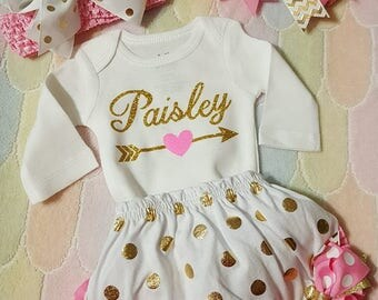 Personalized Baby Girl Outfit Pink and Gold Newborn Onesie, Bloomers and 2 Headbands (1 small/1 larger) Baby Shower, Coming Home Outfit