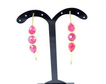 ruby earring,ruby hoop earring ,ruby hoop earring,gold hoop earring ,gemstone hoop earring,red color earring drop hoop earring ,gift item