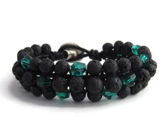 Boho black lava and green crystal bracelet, Lava stone women bracelet, Black rock bracelet, Lava beaded gift, Black lava jewelry, Woman lava