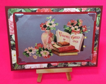 Vintage Birthday greetings postcard - upcycled as handmade vintage, blank, floral folding red Birthday card.