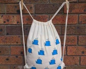 Happy Whale - Drawstring backpack, lightweight backpack, eco friendly daypack bag