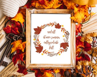 Fall Quote || Printable Wall Art, Printable Quote, Downloadable Print